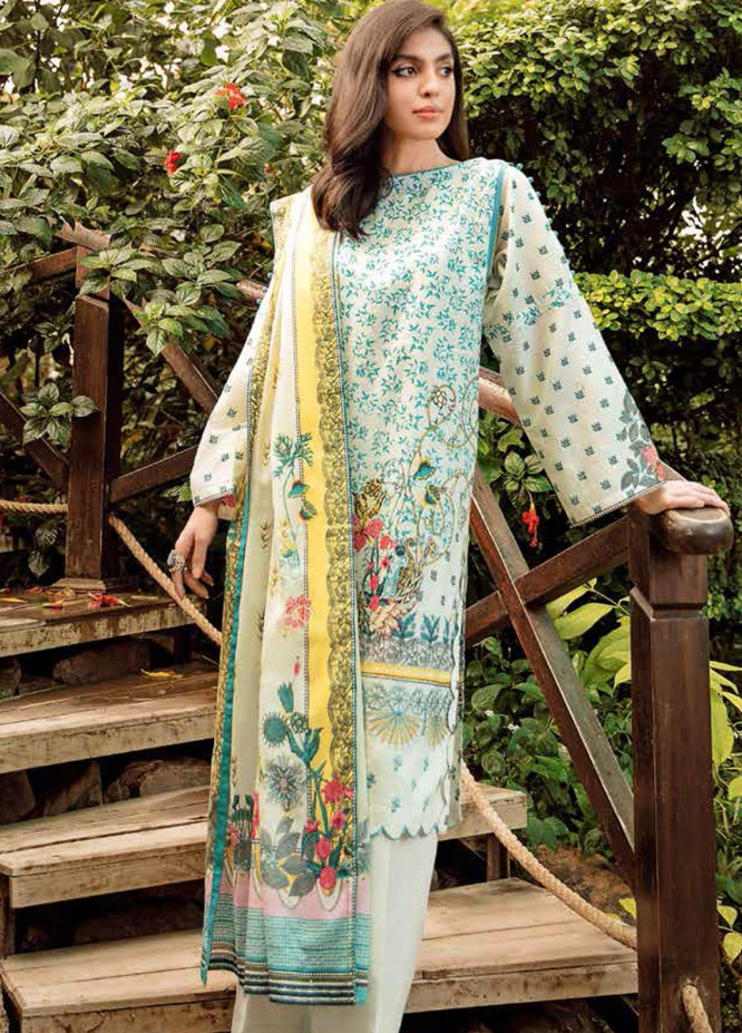 Gul Ahmed Embroidered Lawn Suits Unstitched 3 Piece GA21BL CL1024 - Summer Collection