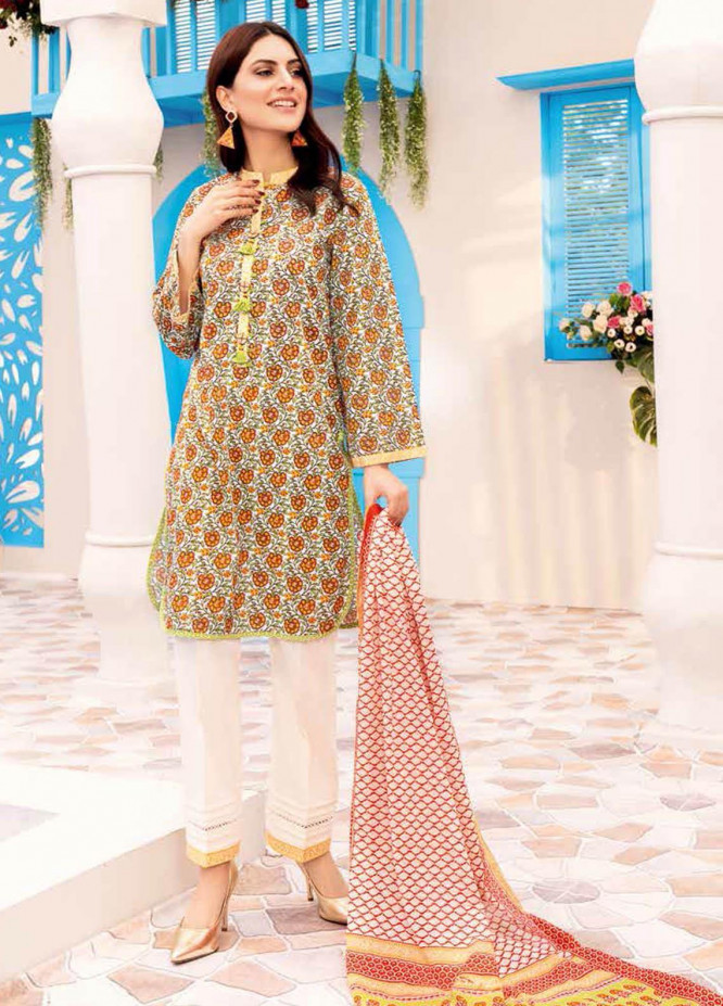 Gul Ahmed Printed Lawn Suits Unstitched 3 Piece GA21BL CL1025A - Summer Collection