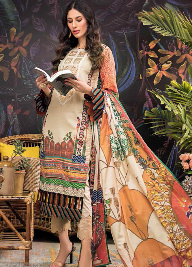 Gul Ahmed Embroidered Lawn Suits Unstitched 3 Piece GA21BL CL1033 - Summer Collection