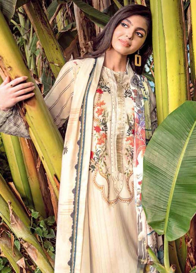 Gul Ahmed Embroidered Lawn Suits Unstitched 3 Piece GA21BL CL1036 - Summer Collection