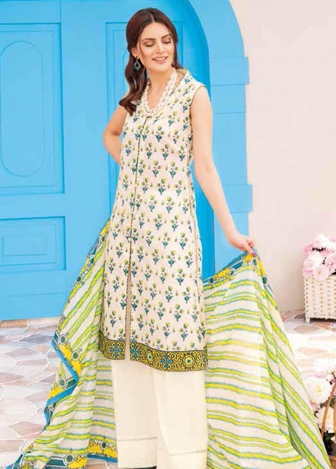 Gul Ahmed Printed Lawn Suits Unstitched 3 Piece GA21BL CL1040B - Summer Collection