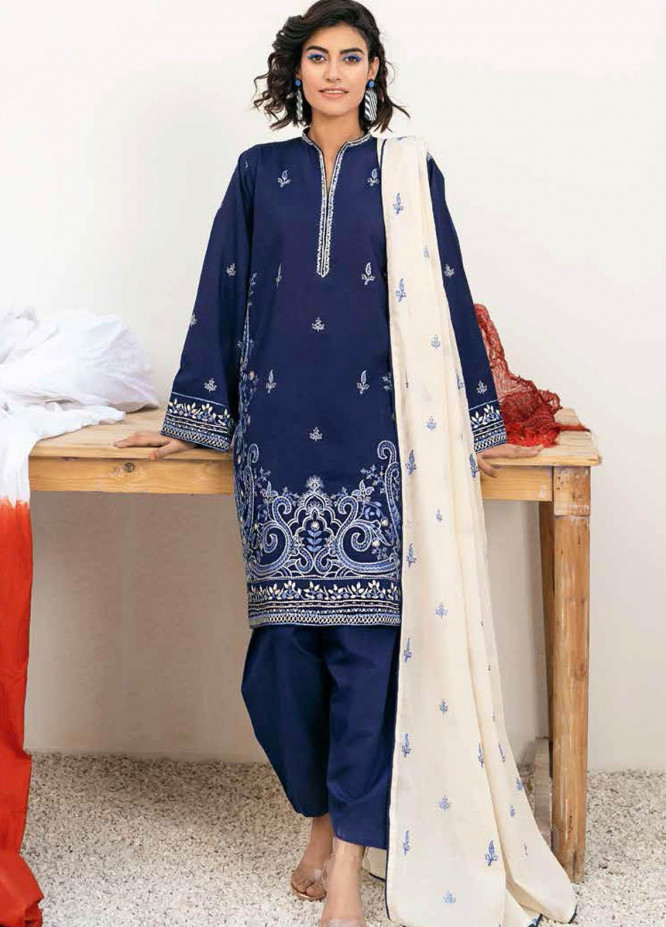 Gul Ahmed Embroidered Lawn Suits Unstitched 3 Piece GA21BL CL1041 - Summer Collection
