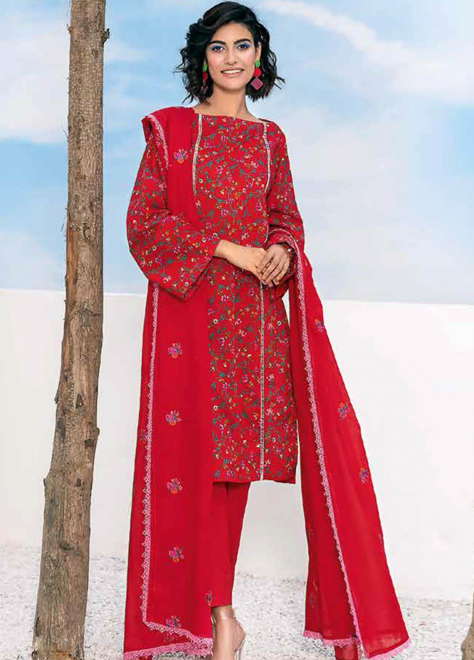Gul Ahmed Embroidered Lawn Suits Unstitched 3 Piece GA21BL CL1045 - Summer Collection