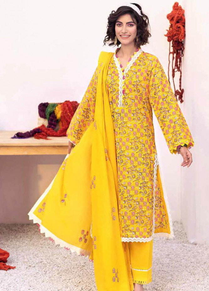 Gul Ahmed Embroidered Lawn Suits Unstitched 3 Piece GA21BL CL1048 - Summer Collection