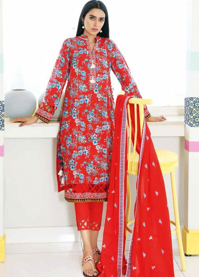 Gul Ahmed Embroidered Lawn Suits Unstitched 3 Piece GA21BL CL1052 - Summer Collection