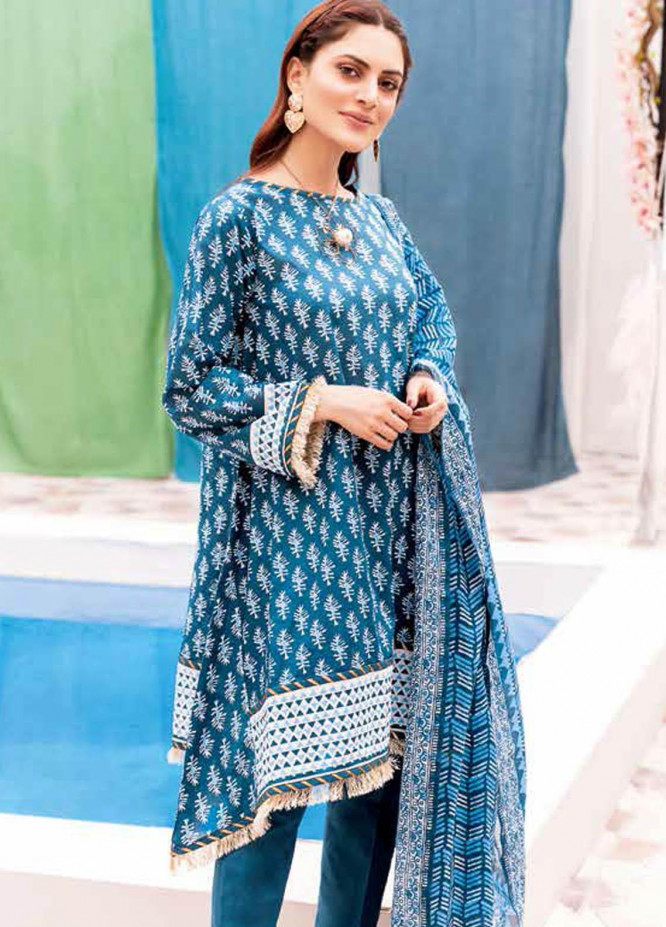 Gul Ahmed Printed Lawn Suits Unstitched 3 Piece GA21BL CL1054A - Summer Collection