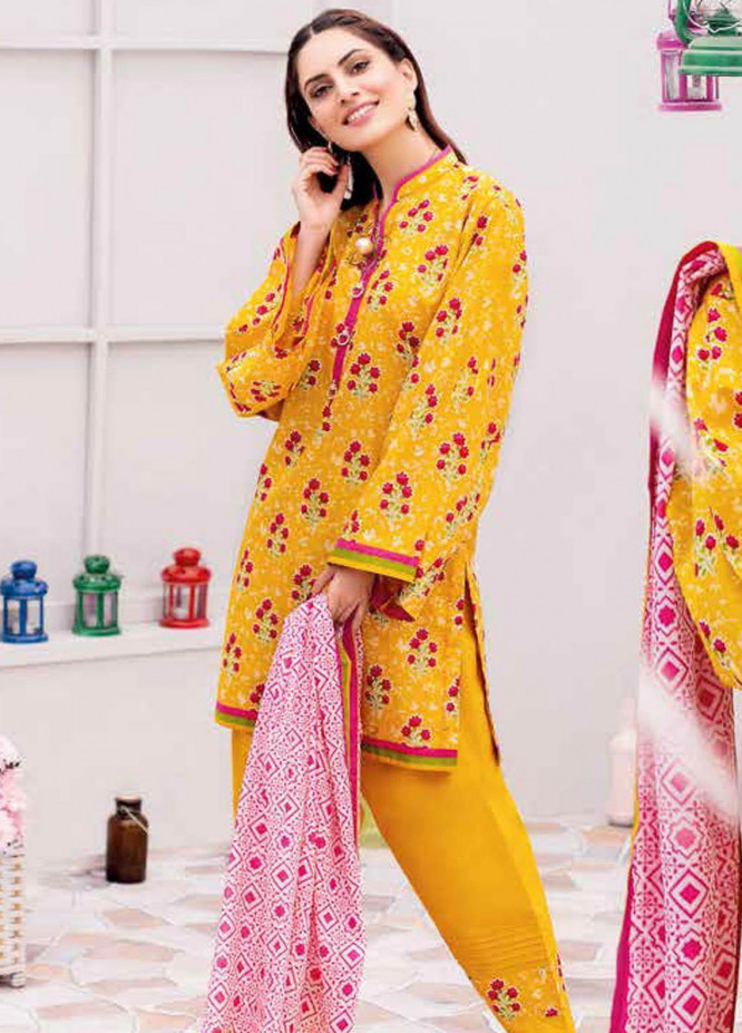 Gul Ahmed Printed Lawn Suits Unstitched 3 Piece GA21BL CL1055B - Summer Collection