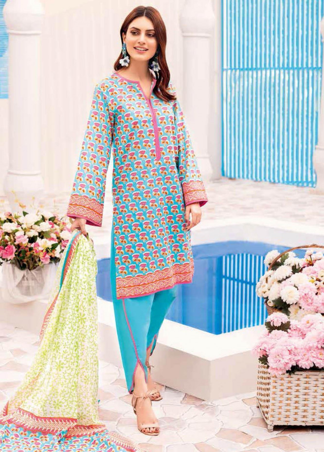 Gul Ahmed Printed Lawn Suits Unstitched 3 Piece GA21BL CL1056A - Summer Collection