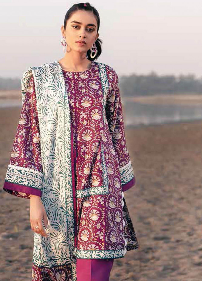 Gul Ahmed Printed Lawn Suits Unstitched 3 Piece GA21BL CL1057A - Summer Collection