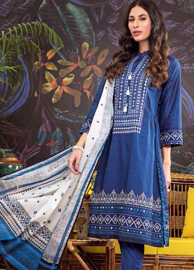 Gul Ahmed Embroidered Lawn Suits Unstitched 3 Piece GA21BL CL1058 - Summer Collection