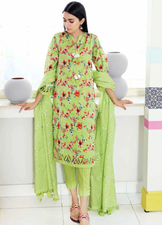 Gul Ahmed Embroidered Lawn Suits Unstitched 3 Piece GA21BL CL1059 - Summer Collection