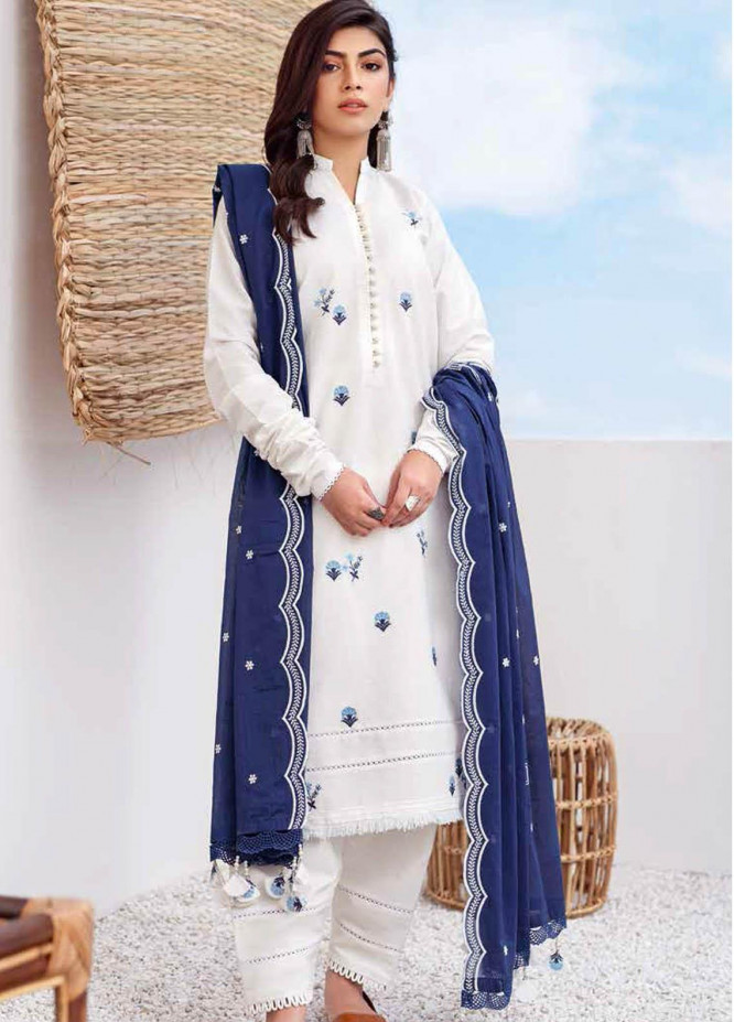 Gul Ahmed Embroidered Lawn Suits Unstitched 3 Piece GA21BL CL1062 - Summer Collection