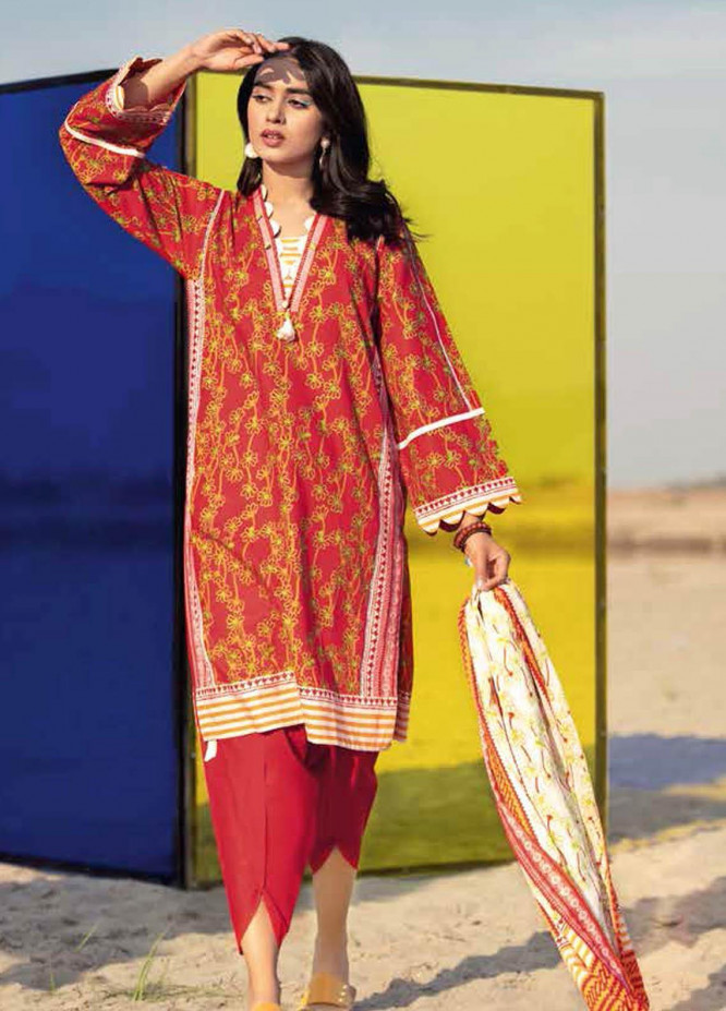 Gul Ahmed Printed Lawn Suits Unstitched 3 Piece GA21BL CL1068B - Summer Collection