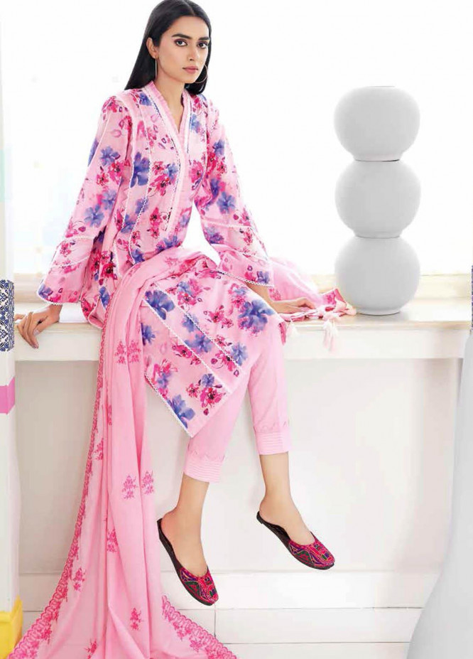 Gul Ahmed Embroidered Lawn Suits Unstitched 3 Piece GA21BL CL1075 - Summer Collection