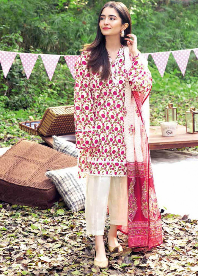 Gul Ahmed Printed Lawn Suits Unstitched 3 Piece GA21BL CL1076A - Summer Collection