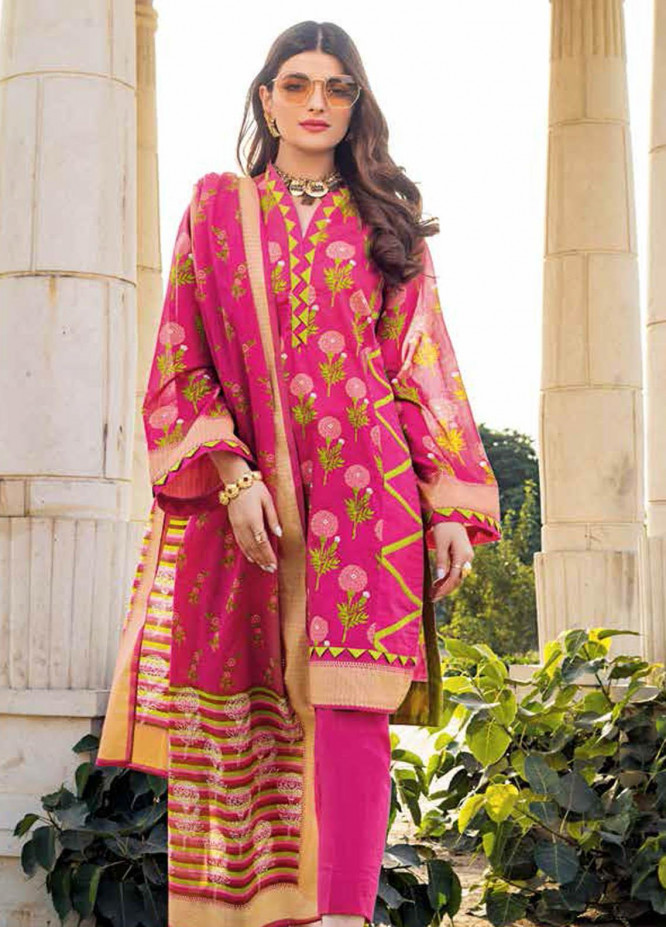 Gul Ahmed Printed Lawn Suits Unstitched 3 Piece GA21BL CL1085A - Summer Collection