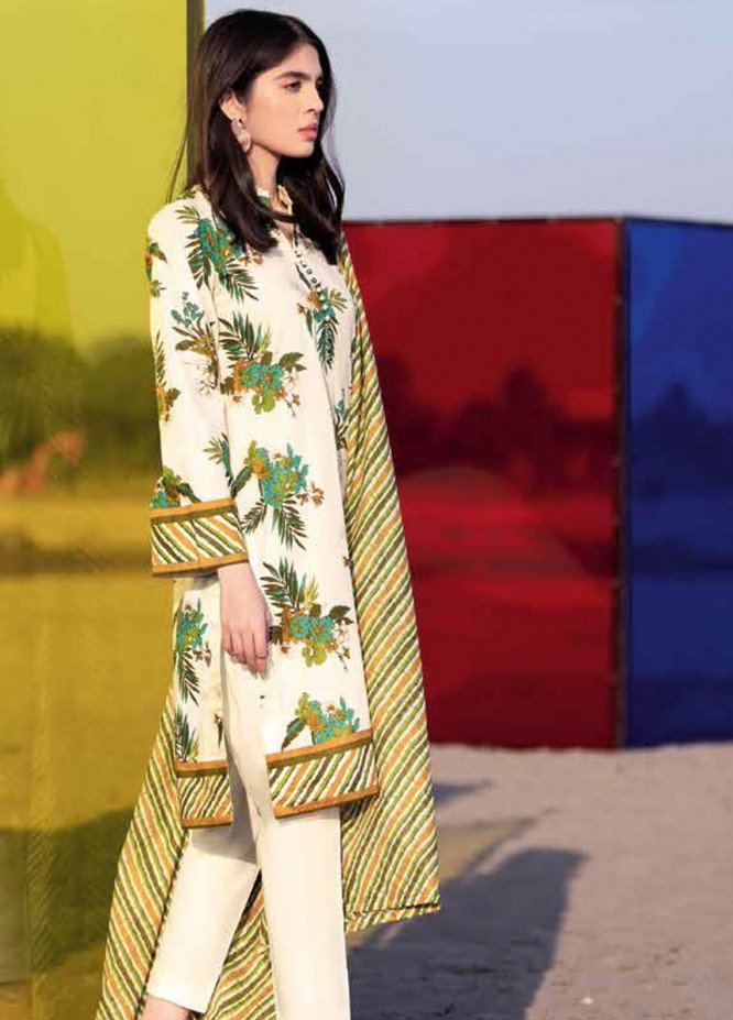 Gul Ahmed Printed Lawn Suits Unstitched 3 Piece GA21BL CL1112A - Summer Collection