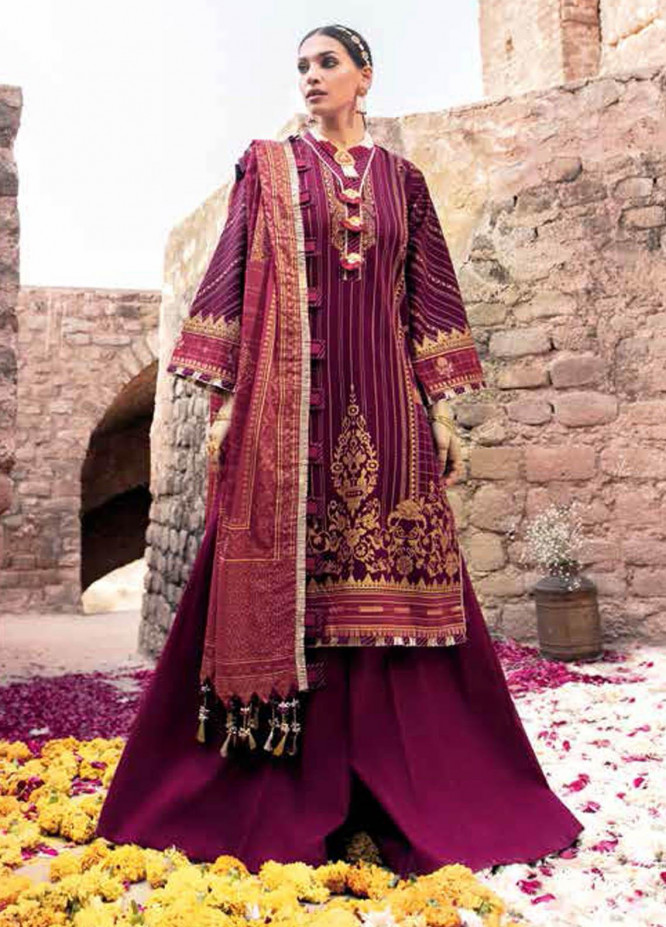 Gul Ahmed Printed Lawn Suits Unstitched 3 Piece GA21BL CL1122B - Summer Collection
