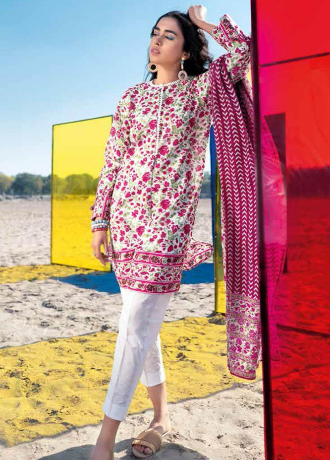 Gul Ahmed Printed Lawn Suits Unstitched 3 Piece GA21BL CL1130A - Summer Collection