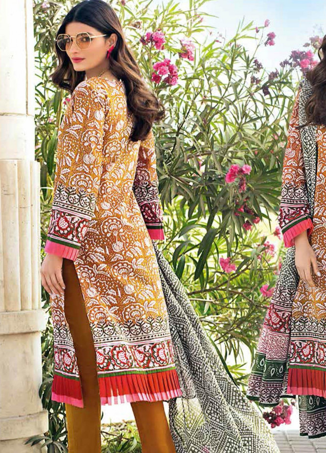 Gul Ahmed Printed Lawn Suits Unstitched 3 Piece GA21BL CL1134A - Summer Collection