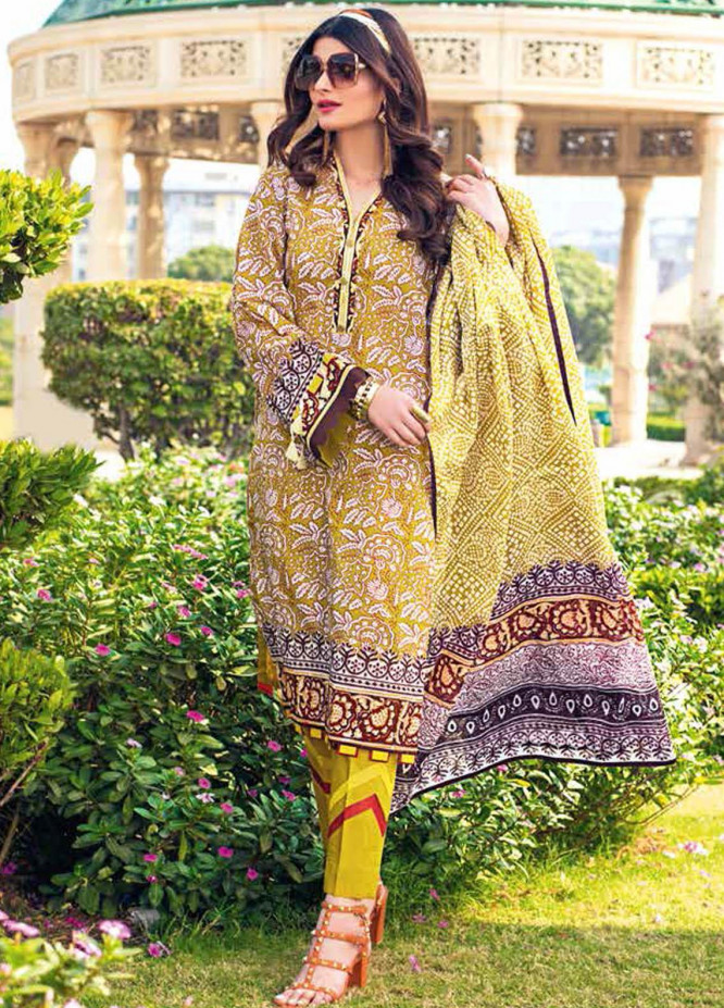 Gul Ahmed Printed Lawn Suits Unstitched 3 Piece GA21BL CL1134B - Summer Collection