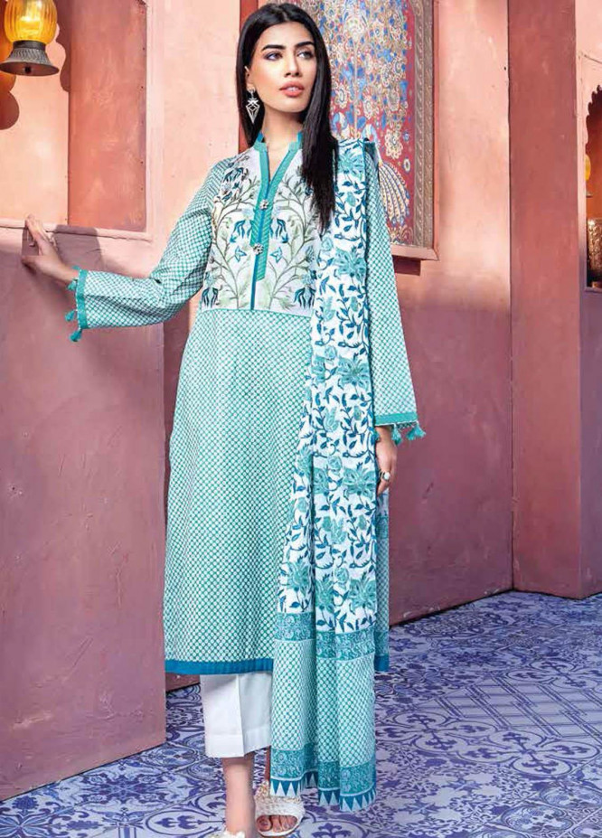 Gul Ahmed Embroidered Lawn Suits Unstitched 3 Piece GA21BL CL1149A - Summer Collection