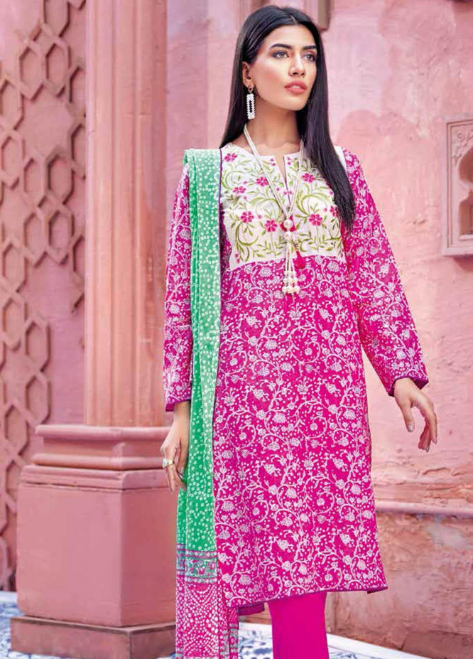 Gul Ahmed Embroidered Lawn Suits Unstitched 3 Piece GA21BL CL1151B - Summer Collection