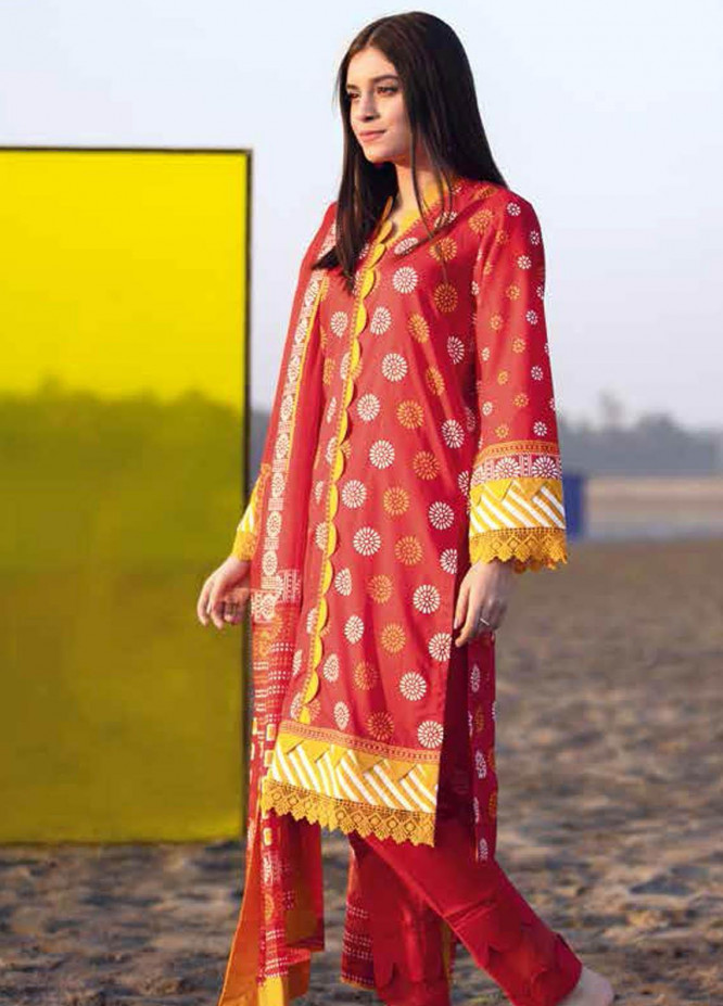 Gul Ahmed Printed Lawn Suits Unstitched 3 Piece GA21BL CL1153A - Summer Collection