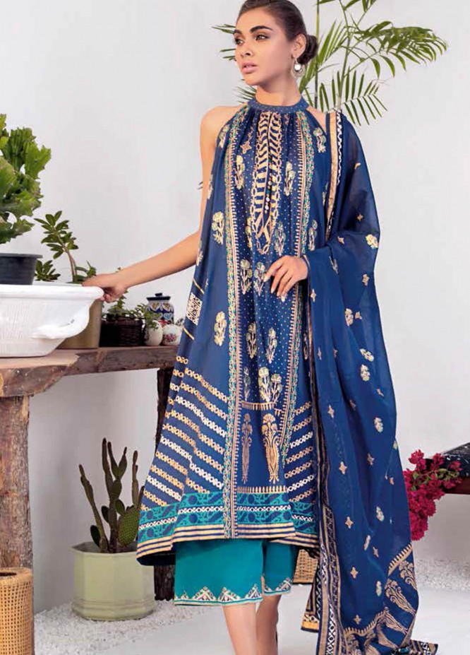 Gul Ahmed Printed Lawn Suits Unstitched 3 Piece GA21BL CL1156 - Summer Collection