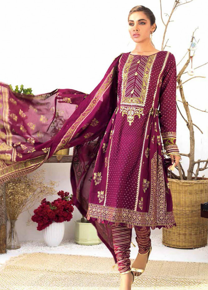 Gul Ahmed Printed Lawn Suits Unstitched 3 Piece GA21BL CL1158 - Summer Collection