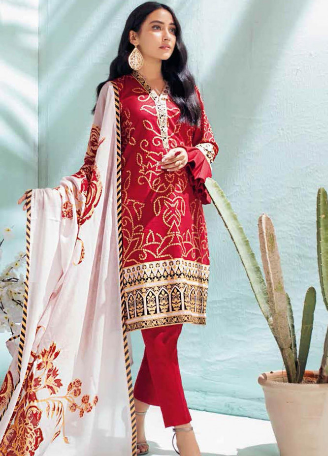 Gul Ahmed Printed Lawn Suits Unstitched 3 Piece GA21BL CL1160A - Summer Collection