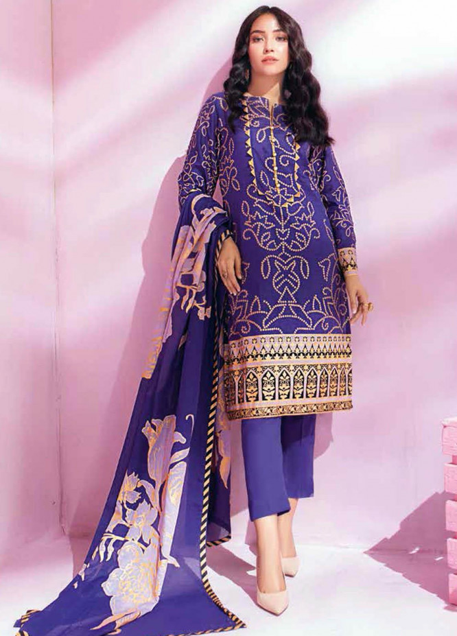 Gul Ahmed Printed Lawn Suits Unstitched 3 Piece GA21BL CL1160B - Summer Collection
