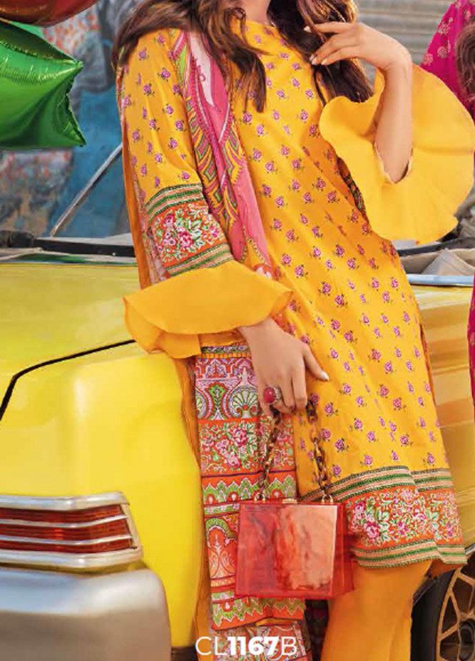 Gul Ahmed Printed Lawn Suits Unstitched 3 Piece GA21BL CL1167B - Summer Collection