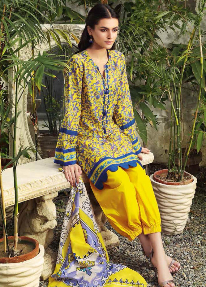Gul Ahmed Printed Lawn Suits Unstitched 3 Piece GA21BL CL1168A - Summer Collection