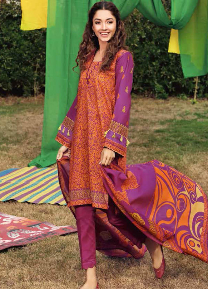Gul Ahmed Printed Lawn Suits Unstitched 3 Piece GA21BL CL1180B - Summer Collection