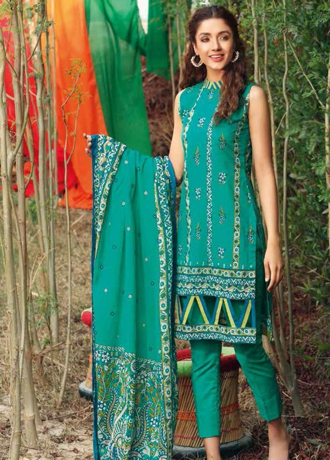 Gul Ahmed Printed Lawn Suits Unstitched 3 Piece GA21BL CL1181A - Summer Collection