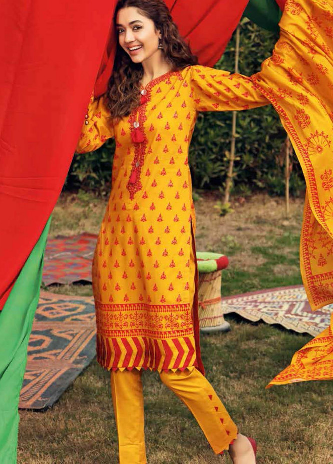 Gul Ahmed Embroidered Lawn Suits Unstitched 3 Piece GA21BL CL1182A - Summer Collection