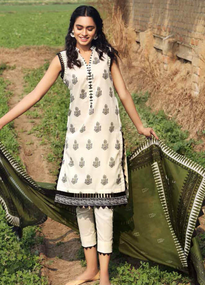 Gul Ahmed Printed Lawn Suits Unstitched 3 Piece GA21BL CL1183A - Summer Collection