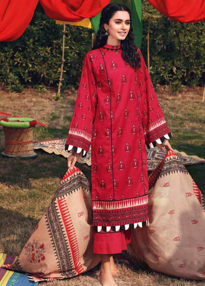 Gul Ahmed Printed Lawn Suits Unstitched 3 Piece GA21BL CL1183B - Summer Collection