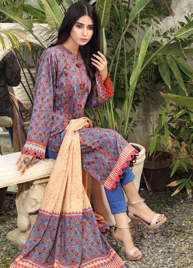 Gul Ahmed Printed Lawn Suits Unstitched 3 Piece GA21BL CL1185A - Summer Collection