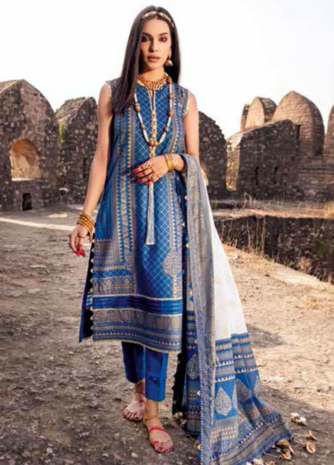 Gul Ahmed Printed Lawn Suits Unstitched 3 Piece GA21BL CL1196A - Summer Collection