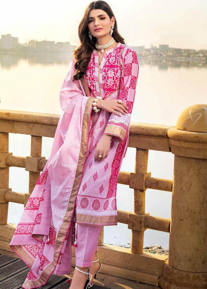 Gul Ahmed Printed Lawn Suits Unstitched 3 Piece GA21BL CL1210B - Summer Collection