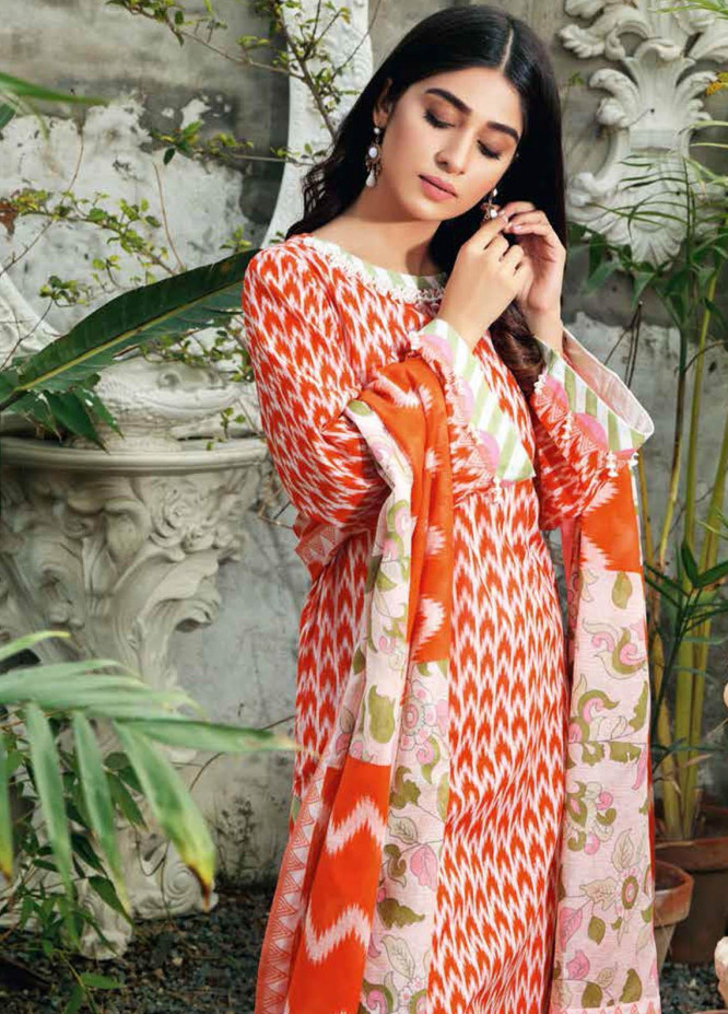 Gul Ahmed Printed Lawn Suits Unstitched 3 Piece GA21BL CL1212B - Summer Collection
