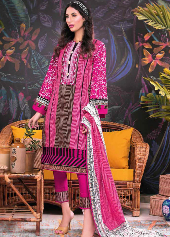 Gul Ahmed Embroidered Lawn Suits Unstitched 3 Piece GA21BL CL1213 - Summer Collection