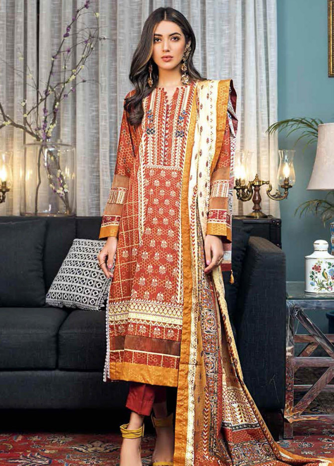 Gul Ahmed Printed Lawn Suits Unstitched 3 Piece GA21BL CL1214 - Summer Collection