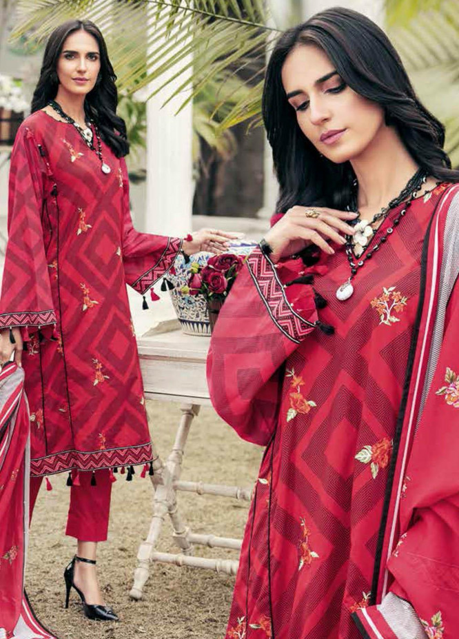 Gul Ahmed Embroidered Lawn Suits Unstitched 3 Piece GA21BL CL1218 - Summer Collection