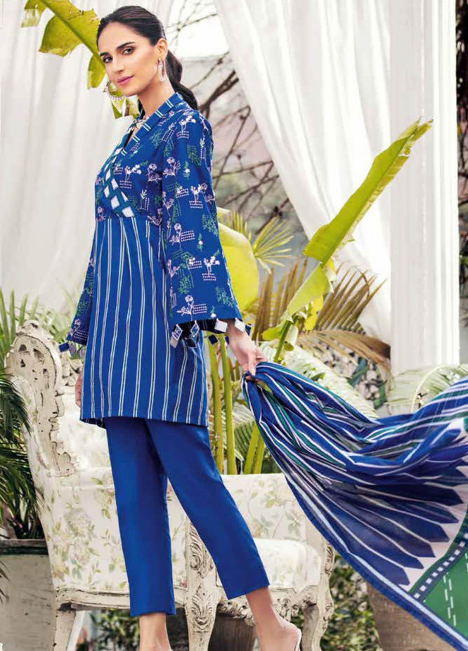 Gul Ahmed Embroidered Lawn Suits Unstitched 3 Piece GA21BL CL1221 - Summer Collection
