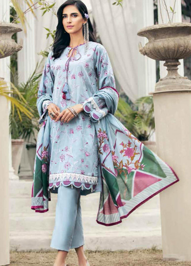 Gul Ahmed Embroidered Lawn Suits Unstitched 3 Piece GA21BL CL1222 - Summer Collection