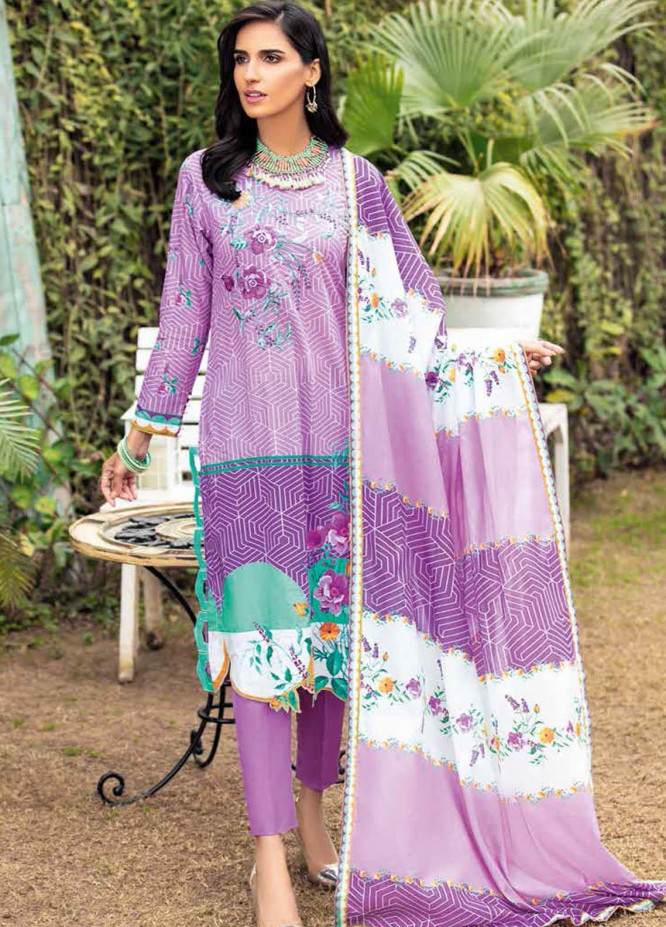 Gul Ahmed Embroidered Lawn Suits Unstitched 3 Piece GA21BL CL1223 - Summer Collection