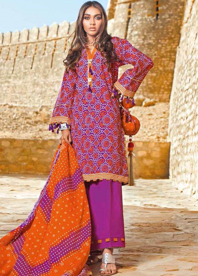 Gul Ahmed Printed Lawn Suits Unstitched 3 Piece GA21BL CL1225A - Summer Collection